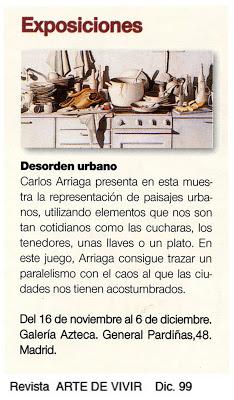 Carlos Arriaga en la revista Arte de Vivir 1999