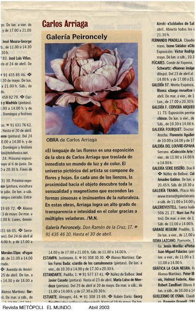 Carlos Arriaga en Metropoli. El Mundo. 2003